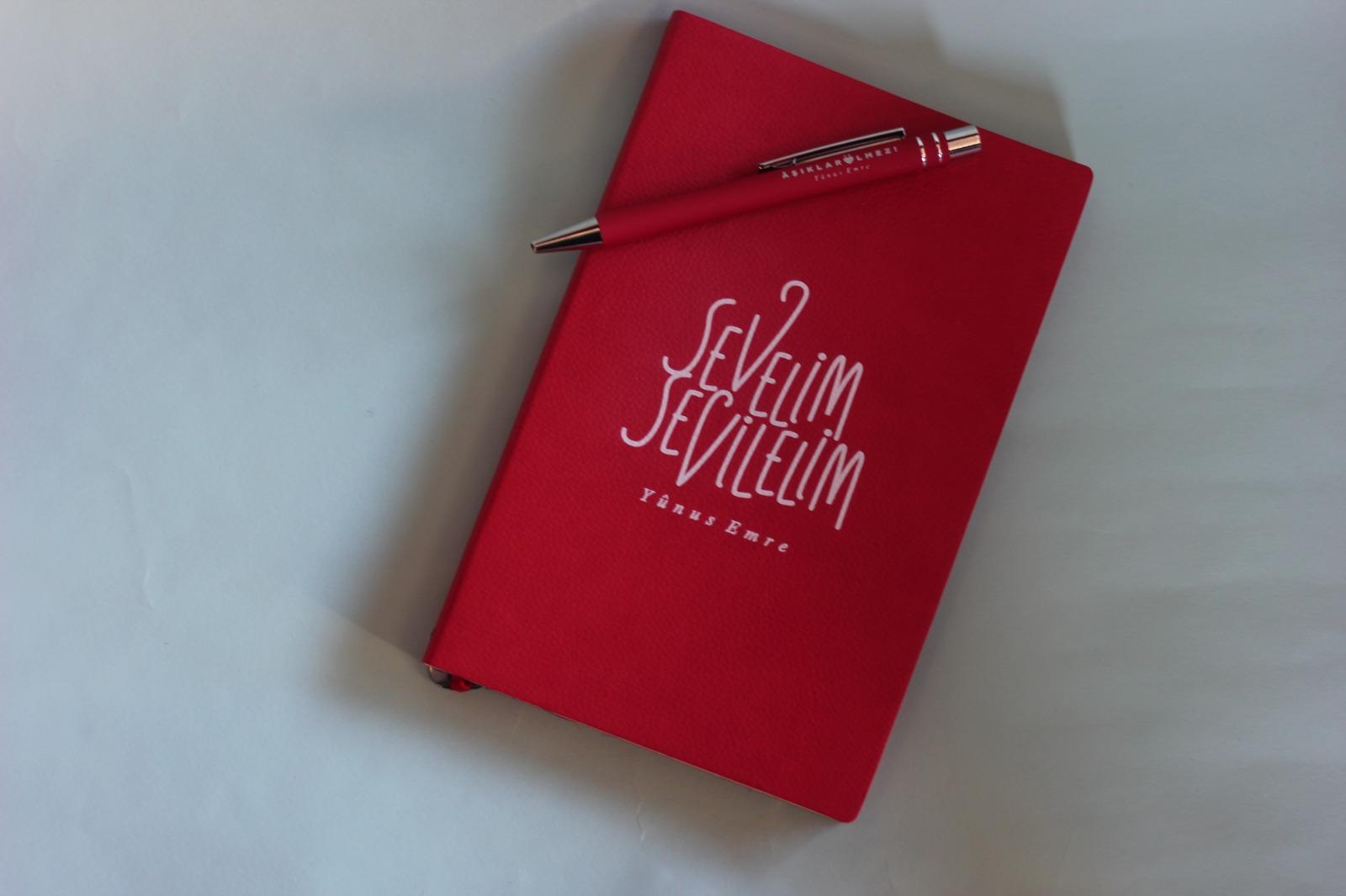 Yunus Suni Deri Defter Kalem Hediyeli (Kırmızı)